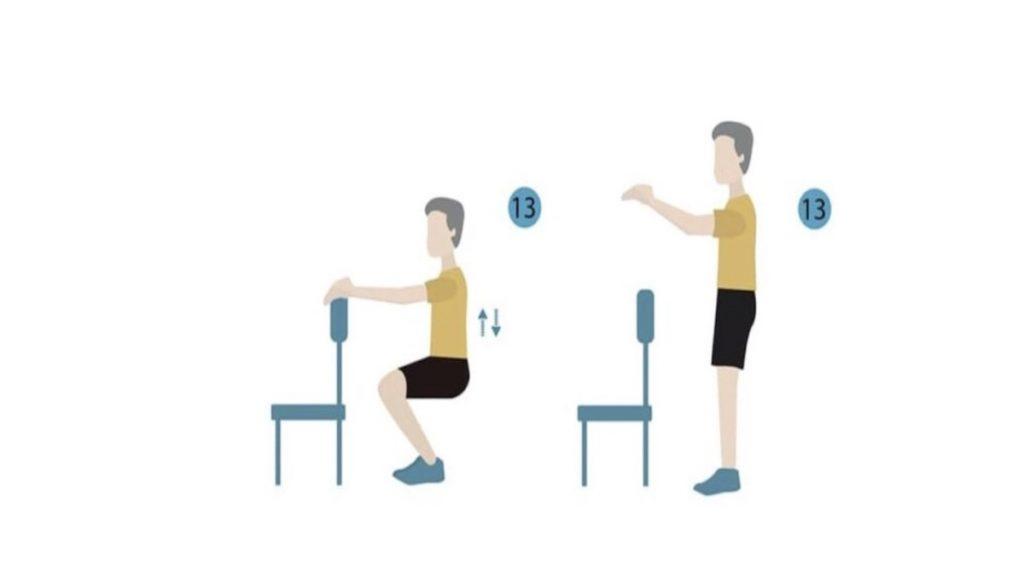 تمرين الطلوع و النزول بالاستناد على حافة ظهر كرسي squatting against chair californiamobility